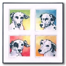 The boys - four dalmations in watercolor