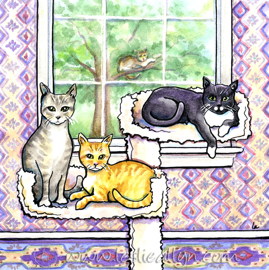 Family tree painting of three cats with purple wallpaper