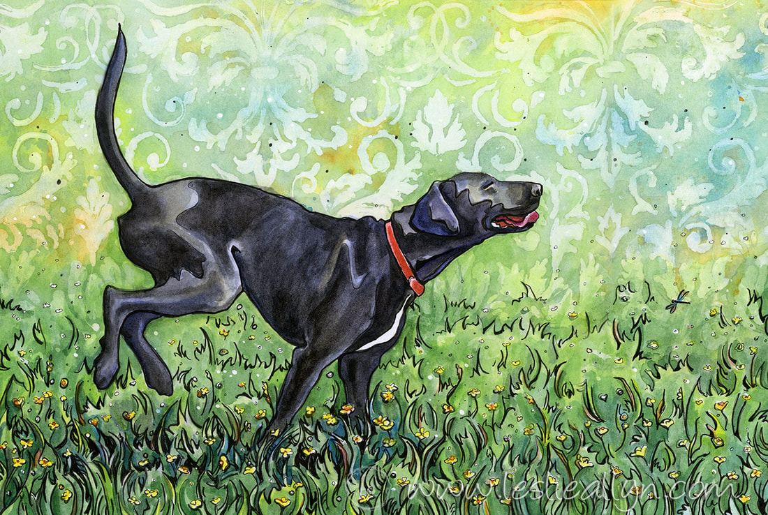 Felix black lab dog in green grass watercolor