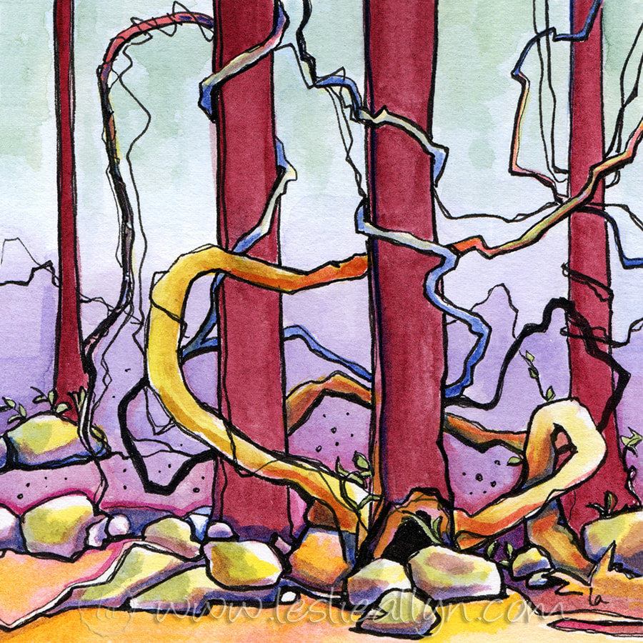Gnarly roots vines and trees - Leslie Allyn