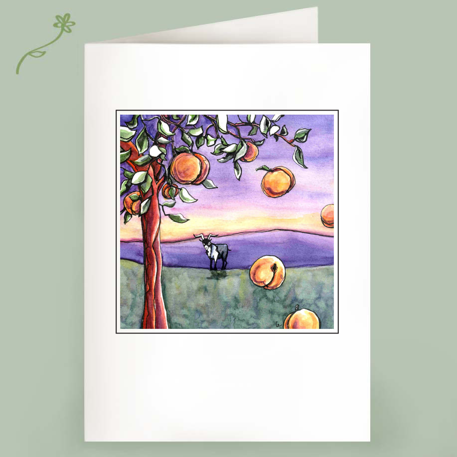 Goat and Peach Tree Note Cards by Leslie Allyn