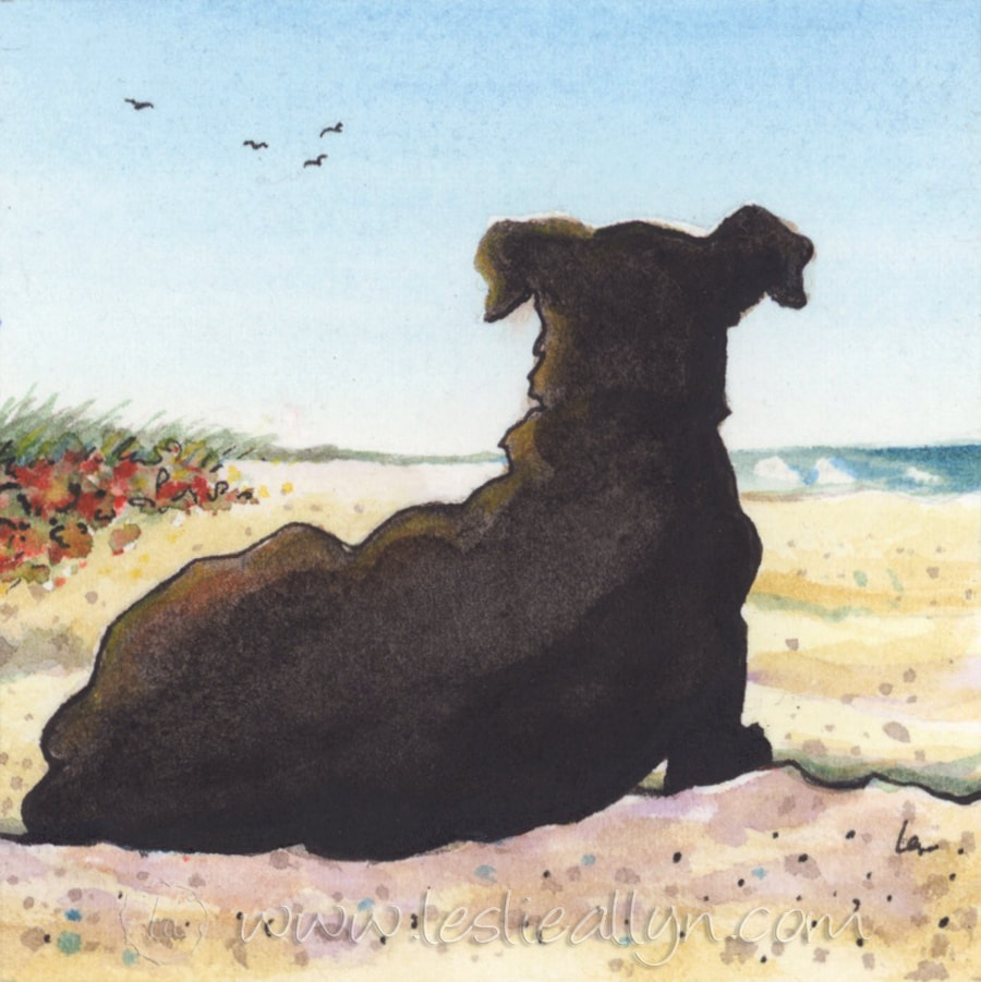Lady in Waiting black dog on beach - Leslie Allyn