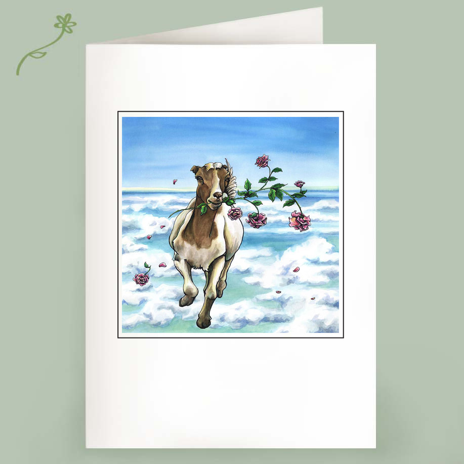 On the Loose - Running Goat with Roses - Note Cards