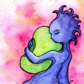 blue girl hugs a green bean on pink background original painting