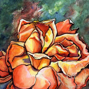 Petal Luna by Leslie Allyn, a watercolor yellow, orange, and red rose sits on a green background, its petals taking the shape of a moon, in california