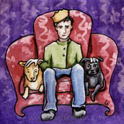 man on thrown with dogs in red and purple