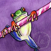 tree frog on a pixie stick