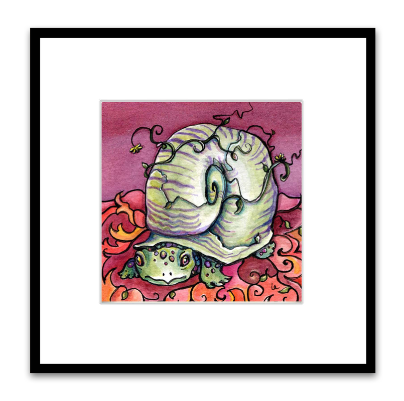 turtle snail in red green and purple