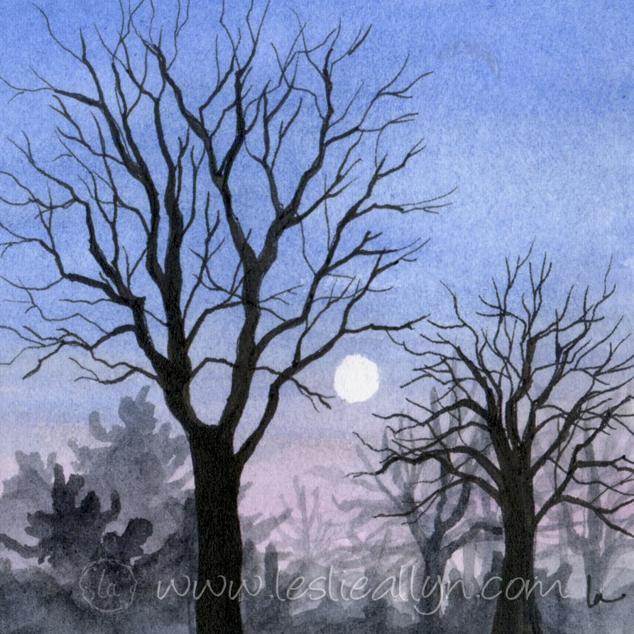 Touching the Moon - Tree branches and Sky - Leslie Allyn