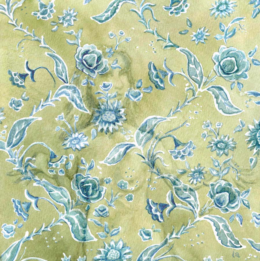 wallflower in sage by Leslie Allyn, a woman dances hidden among the flower pattern green grey wallpaper